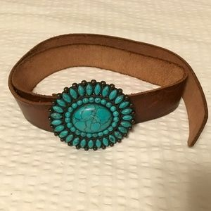 Lucky brand leather belt with the turquoise stone